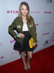 Kelli Berglund added a pair of animal print pumps to her eclectic ensemble.