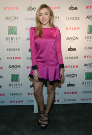 Peyton List looked adorable in a fuchsia and black mini dress by Marc Jacobs at the Nylon Nights Los Angeles.