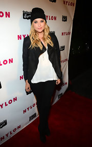 Ashley Benson's classic leather jacket looked rocker chic when paired with an oversized tee and black beanie.