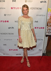 Angela Lindvall chose this jacquard fit-and-flare dress for a romantic and feminine red carpet look.