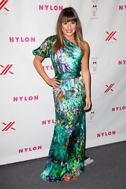 Lea Michele was striking in her watercolor silk gown at the Nylon September TV Issue Launch Party.