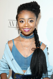 Skai Jackson rocked a side braid with a curly top at the Nylon Young Hollywood party.