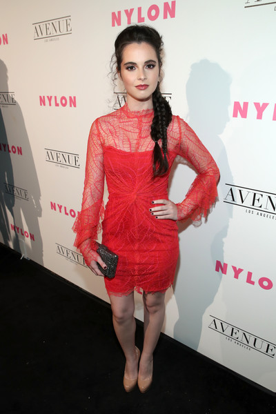 Vanessa Marano chose a red spiderweb cocktail dress by Lana Mueller for the Nylon Young Hollywood party.