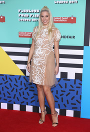 Amber Le Bon opted for an embroidered nude cocktail dress when she attended the Naked Heart Foundation's Fabulous Fund Fair.