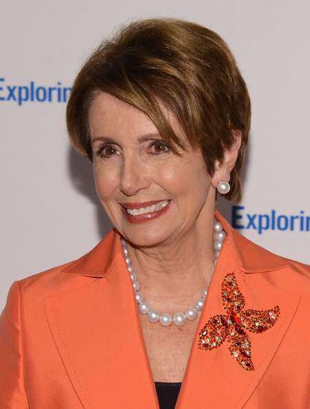 Nancy Pelosi Pearl Studs [6th annual exploring the arts gala,hair,hairstyle,layered hair,brown hair,bangs,pixie cut,fashion accessory,makeover,feathered hair,tony bennett,nancy pelosi,susan benedetto,new york city,cipriani 42nd street,susan benedetto host 6th annual exploring the arts gala]
