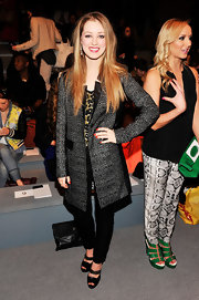 Ella Rae Peck sported a classic gray tweed coat at the Nanette Lepore Fall 2013 runway show.