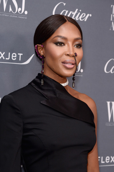 Naomi Campbell Ear Cuff [hair,hairstyle,dress,neck,little black dress,formal wear,black hair,white-collar worker,fashion accessory,premiere,arrivals,naomi campbell,2017 innovator awards,new york city,moma,wsj,magazine]