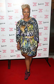 Emeli rocked a modern draped print dress at a Fashion For Relief Charity Dinner in London.