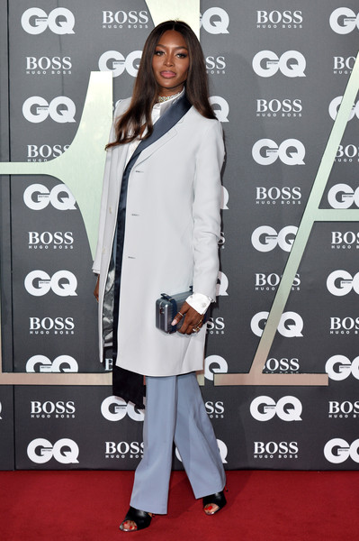 Naomi Campbell Slacks [clothing,red carpet,carpet,premiere,outerwear,flooring,coat,overcoat,style,street fashion,red carpet arrivals,naomi campbell,gq men of the year awards,england,london,tate modern]