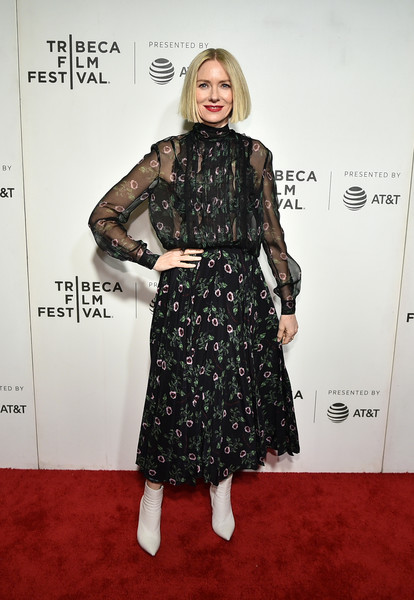 Naomi Watts Ankle Boots [clothing,dress,carpet,red carpet,fashion,flooring,premiere,fashion model,footwear,cocktail dress,luce,naomi watts,new york city,bmcc tribeca pac,tribeca film festival]