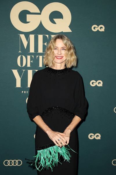 Naomi Watts Feathered Clutch [premiere,dress,little black dress,long hair,carpet,style,red carpet,gq australia men of the year awards,naomi watts,gq australia men of the year awards,australia,sydney,the star]