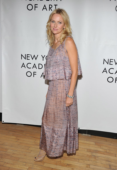 Naomi Watts Print Dress [clothing,dress,fashion,shoulder,premiere,flooring,joint,carpet,fashion design,event,naomi watts,tribeca ball,new york city,new york academy of art - arrivals,tribeca ball 2011]
