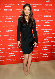 Katie looked classic in this ruched long-sleeve LBD at the Kohl's collection launch.