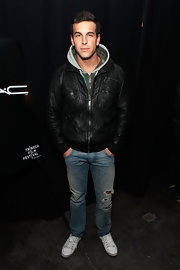 Mario Casas looked rugged at the Tribeca Film Festival, pairing ripped blue jeans with a black leather jacket.
