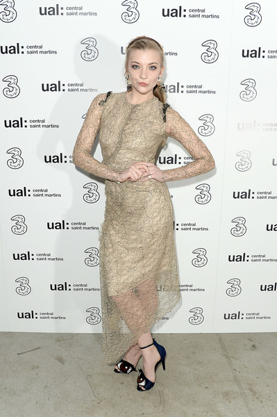 Natalie Dormer Lace Dress [clothing,dress,cocktail dress,shoulder,hairstyle,fashion model,skin,fashion,fashion design,joint,natalie dormer,5g,fashion,london,england,party,central st martins,lfw,central saint martins ma show,central st martins ma show]