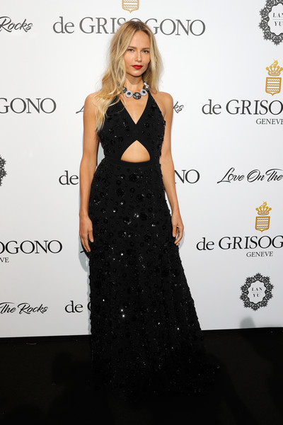 Natasha Poly Cutout Dress [love on the rocks,little black dress,fashion model,dress,flooring,beauty,gown,shoulder,formal wear,cocktail dress,fashion,natasha poly,degrisogono,hotel du cap-eden-roc,france,cap dantibes,cannes film festival,party]