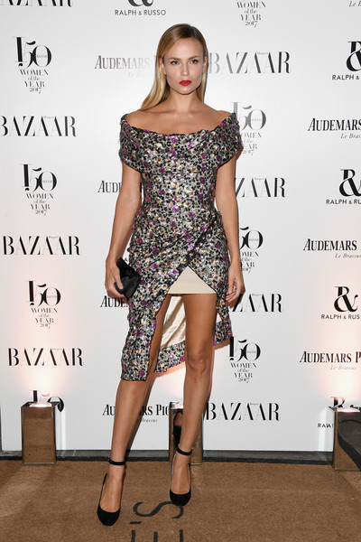 Natasha Poly Off-the-Shoulder Dress [fashion model,clothing,shoulder,dress,cocktail dress,joint,fashion,footwear,hairstyle,leg,arrivals,natasha poly,harpers bazaar women of the year awards,england,london,claridges hotel,harpers bazaar woman of the year awards]