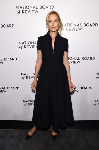 Uma Thurman opted for a simple yet elegant black zip-front shirtdress when she attended the 2020 National Board of Review Awards Gala.