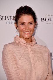 Gemma Arterton pulled her tresses back into a loose ponytail for the National Film & Television School's gala.
