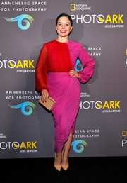 Sophia Bush paired her top with an asymmetrical fuchsia skirt, also by Prabal Gurung.