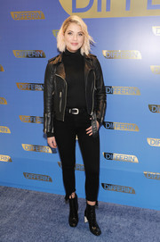Ashley Benson was rocker-chic in frayed capri jeans and a biker jacket at the national launch of Differin Gel.