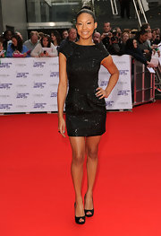 Shanika looked absolutely stunning in her sequin dress and high bun top knot.