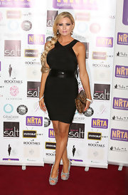 Nicola McLean added a little sparkle to her look by wearing a pair of metallic peep-toes at the National Reality TV Awards.