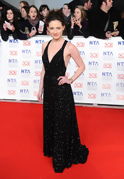 Laura Pulver glittered on the red carpet of the National Television Awards.