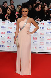 Lucy Mecklenburgh wore a single-shoulder blush gown to the National Television Awards.