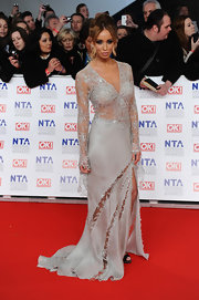 Lauren Pope brought the drama with this glitzy beaded number on the National Television Awards' red carpet.