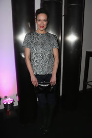 Lisa Martinek chose a sleek leopard print blouse for her evening look at the NDF afterwork party.