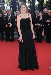 Julie Gayet chose a black flowing dress with a tiered bodice and spaghetti straps for her look at the 'Nebraska' premiere in Cannes.
