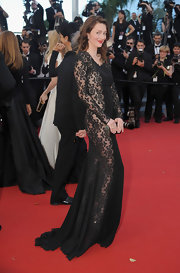 Audrey Marnay showed just a peek of skin with this black lace gown.