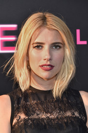 Emma Roberts kept her hair simple with a short wavy cut at the 'Nerve' premiere in NYC.