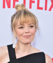 Natasha Lyonne styled her hair into a top knot with jagged bangs for the Netflix Emmy season casting event.