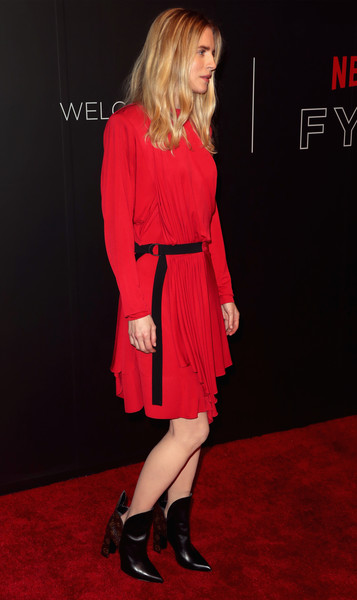More Pics of Brit Marling Ankle Boots (1 of 3) - Boots Lookbook - StyleBistro [clothing,carpet,dress,red,cocktail dress,red carpet,fashion model,footwear,flooring,premiere,arrivals,brit marling,fysee,beverly hills,california,netflix fysee space,netflix,kick-off,event,fysee kick off event]