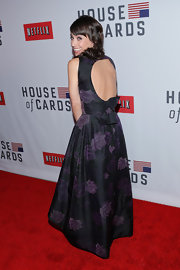 Constance showed off the open back of her floral ball gown at the 'House of Cards' NY premiere.
