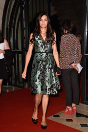 Famke Janssen kept it ladylike in a mint-green print dress at the Netflix launch party in Paris.