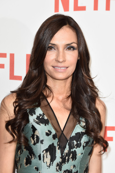 Famke Janssen's Long Wavy Cut