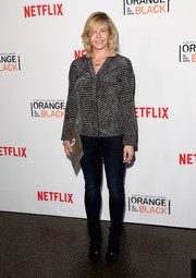 Chelsea Handler opted for a monochrome micro-print blouse when she attended the 'Orange is the New Black' panel discussion.