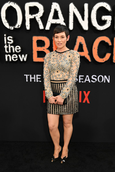Yael Stone opted for a vintage beaded and sequined mini dress when she attended the premiere of 'Orange is the New Black' season 7.