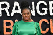 Uzo Aduba styled her hair into a voluminous braided bun for the premiere of 'Orange is the New Black' season 7.