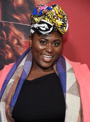 Danielle Brooks looked vibrant wearing this printed headwrap at the premiere of 'Russian Doll' season 1.