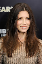Jessica Biel wore sexy, shiny nude lipstick at the NYC premiere of 'New Year's Eve.