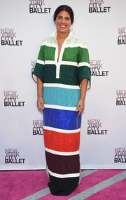 Rosie Assoulin was a stylish standout at the New York City Ballet Fall Gala in a multicolored striped maxi shirtdress from her label's Spring 2017 collection.