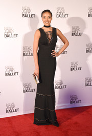 Selita Ebanks flaunted her super-slim figure in a black Herve Leger bandage gown with lace-up detailing at the New York City Ballet Spring Gala.