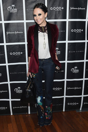 Stacey Bendet Eisner topped off her cool ensemble with a wine-red velvet blazer.