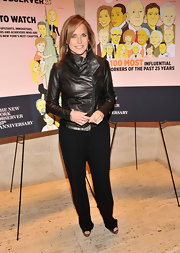 Katie Couric topped off her modern evening look with an sleek leather jacket with asymmetrical collar.