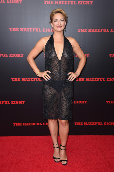 Zoe Bell went practically bare in this sheer, embellished halter dress during the New York premiere of 'The Hateful Eight.'