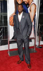 """Dwayne showed off a dapper charcoal grey suit while attending the premiere of """"Just Wright'."""